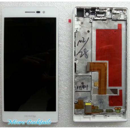 Huawei Ascend P7 Ecran LCD Vitre Tactile avec Chassis Blanc