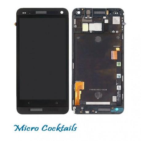 Ecran Complet LCD + Vitre Tactile Avec Chassis HTC ONE M7 Noir Avec Grilles
